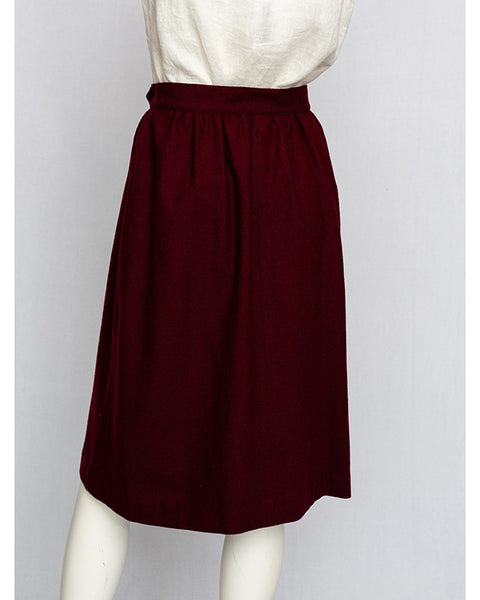 1970's Burgandy Wool Skirt