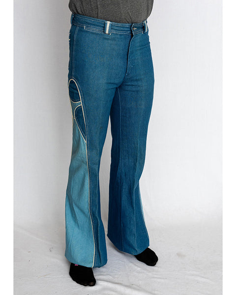 1970's Men's Two-Tone Bellbottom Jeans