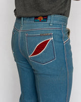 1970's Men's Red Patch Bellbottom Jeans