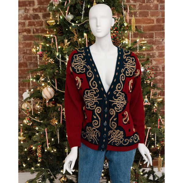 Red & Gold Cardigan (1980's)