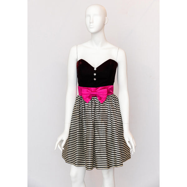 1980's Party Dress with Pink Bow