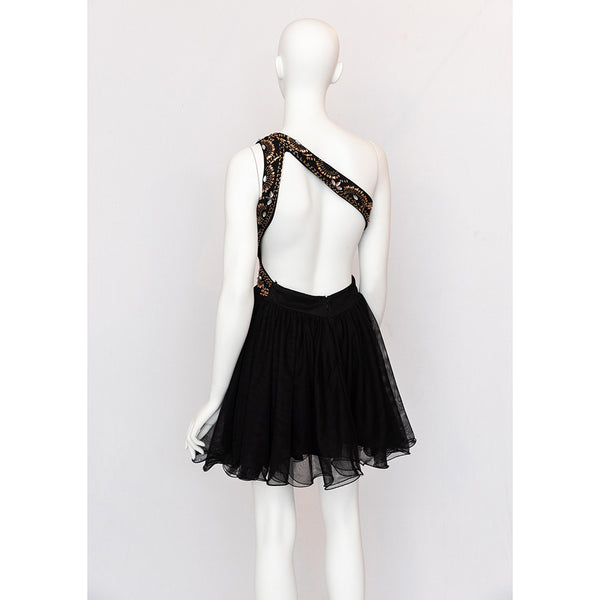 Black One Shoulder Homecoming Dress