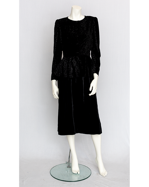 1980's Velvet Peplum Dress
