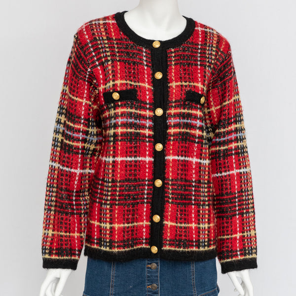 1980's Knit Plaid Cardigan