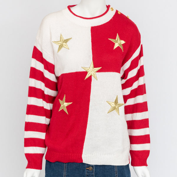 1980's Red & White Sweater With Gold Stars
