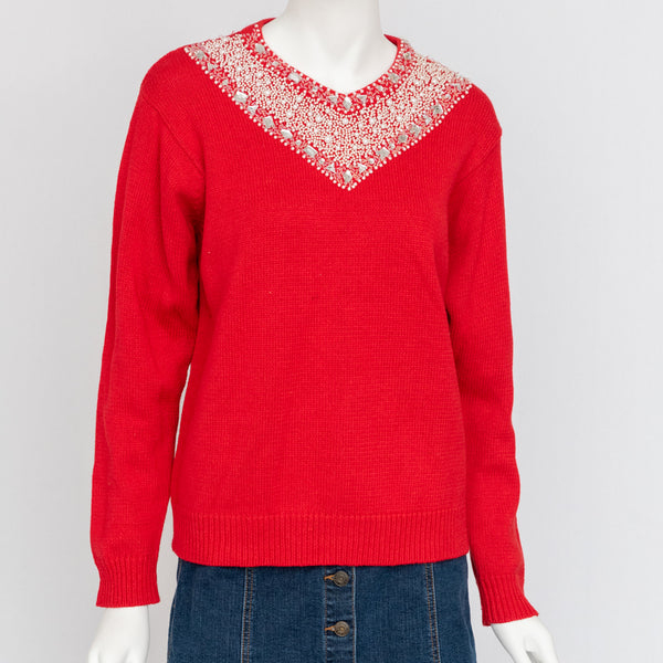 1980's Red Sweater with Pearl and Rhinestone Collar