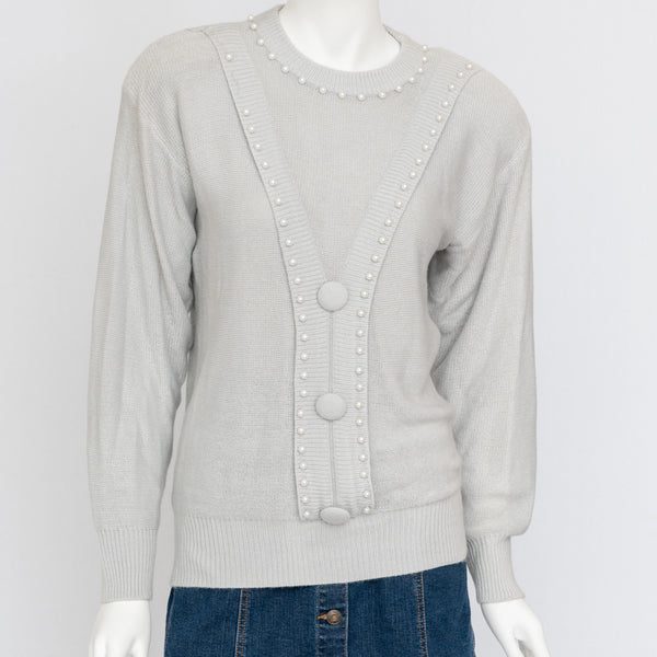 1980's Grey Sweater with Faux Pearls