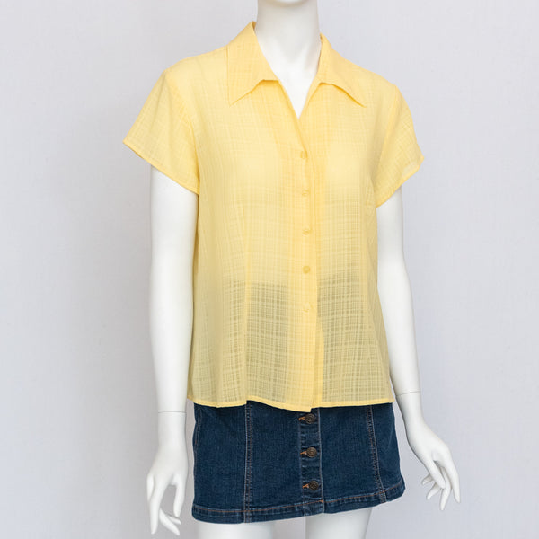 90's Vintage Yellow Button Up