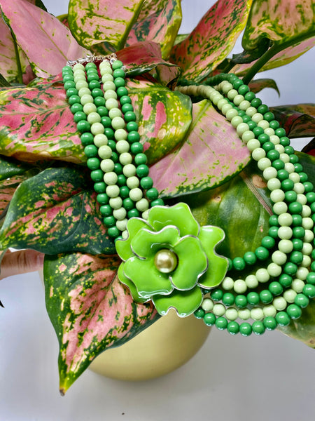 Green Flower Beaded Necklace