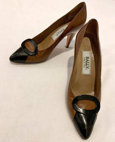 Brown & Black Pointed-Toe Heels