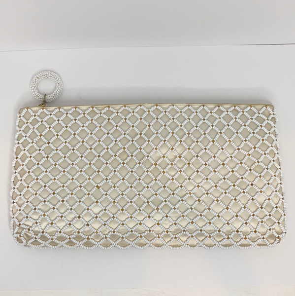 White Beaded Clutch