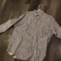 White Floral Button Up Jean Shirt