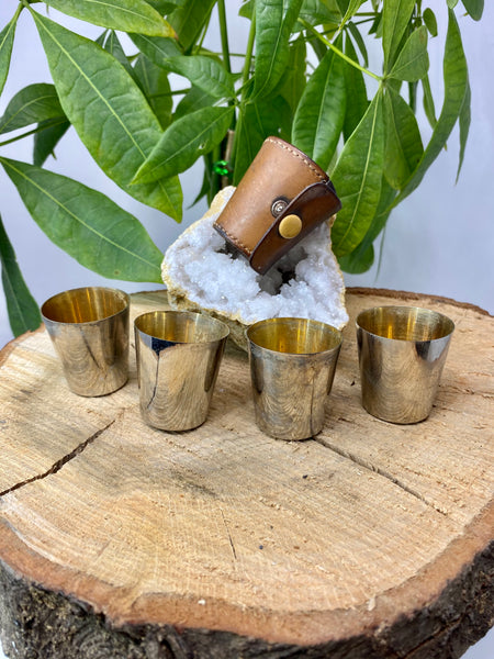 4 Vintage Metal Jigger Shot Glass Set