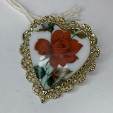 Heart Shaped Rose Brooch (Mid Century)