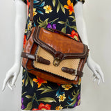 Leather Handbag With Woven Accents