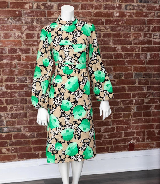 1960's Green Floral Summer Dress