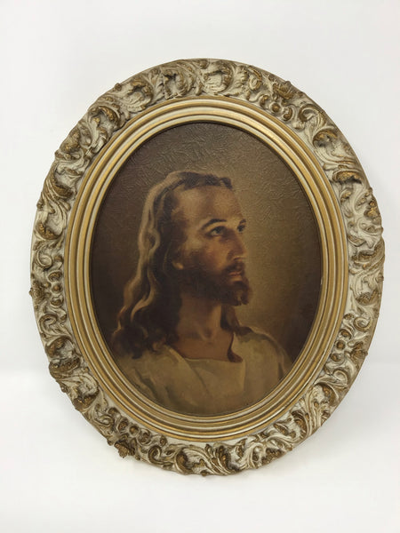 Ornate Framed Oval Jesus Portrait