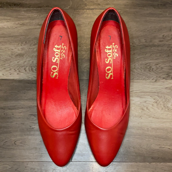 Red Kitten Heel Shoes