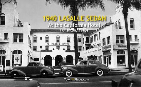 1940 LaSalle Sedan at the California Hotel, Fullerton, 1940s