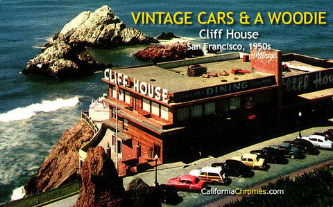 Vintage Cars and a Woodie at the Cliff House c.1950
