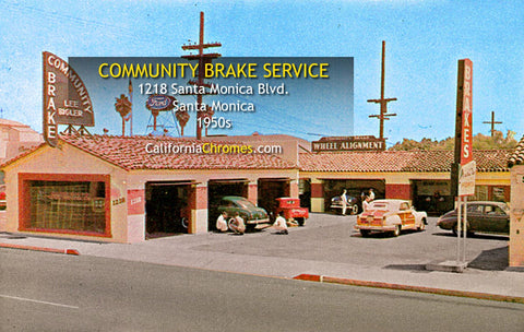 COMMUNITY BRAKE SERVICE, Santa Monica Beach, CA 1950s