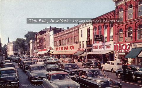 Glen Falls, New York Looking North on Glen Falls Street, c.1955