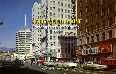 Hollywood & Vine,  Looking North on Vine St., 1960