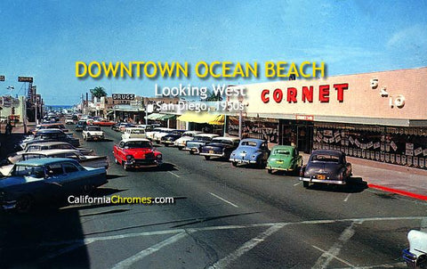 Downtown Ocean Beach Looking West San Diego, c.1955