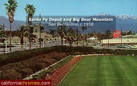 Santa Fe Depot and Big Bear Mountain San Bernardino, c.1958