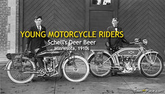 YOUNG MOTORCYCLE RIDERS, SCHELL'S DEER BEER, Minnesota c1913