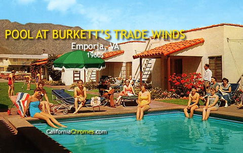 Pool at Burkett's Trade Winds c.1960