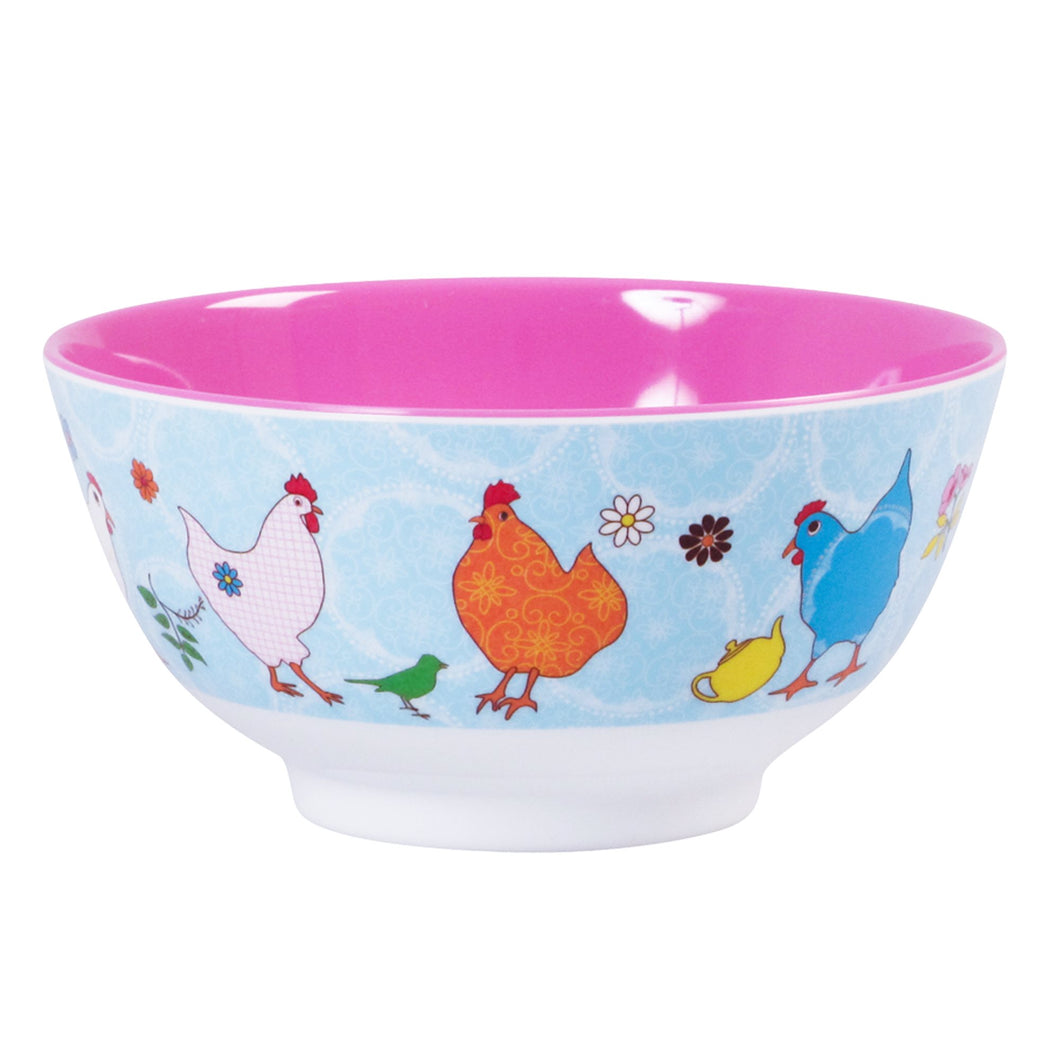Melamine Bowl with Hen Print - Two Tone - Medium