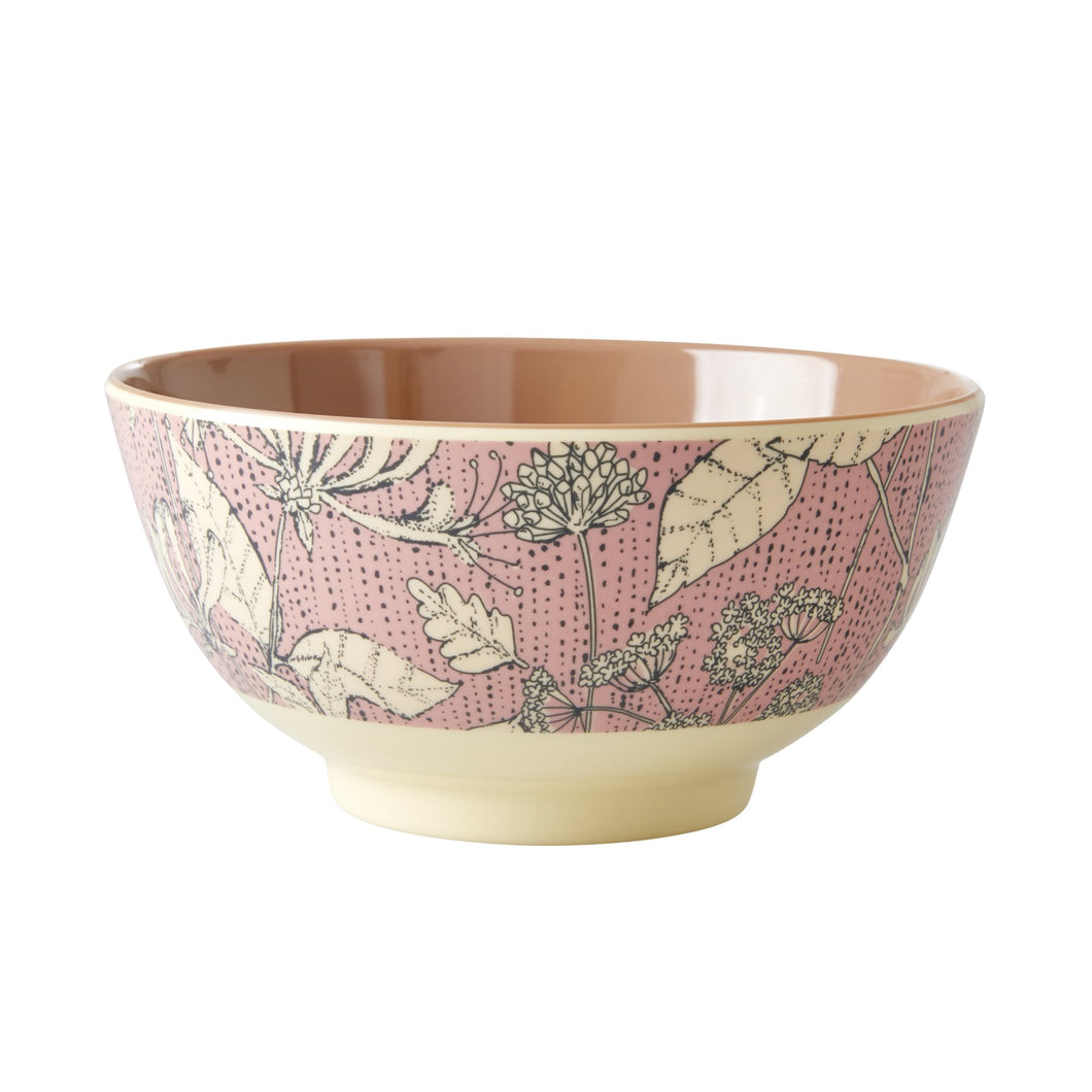Medium Melamine Bowl - Two Tone - Wild Chervil Print