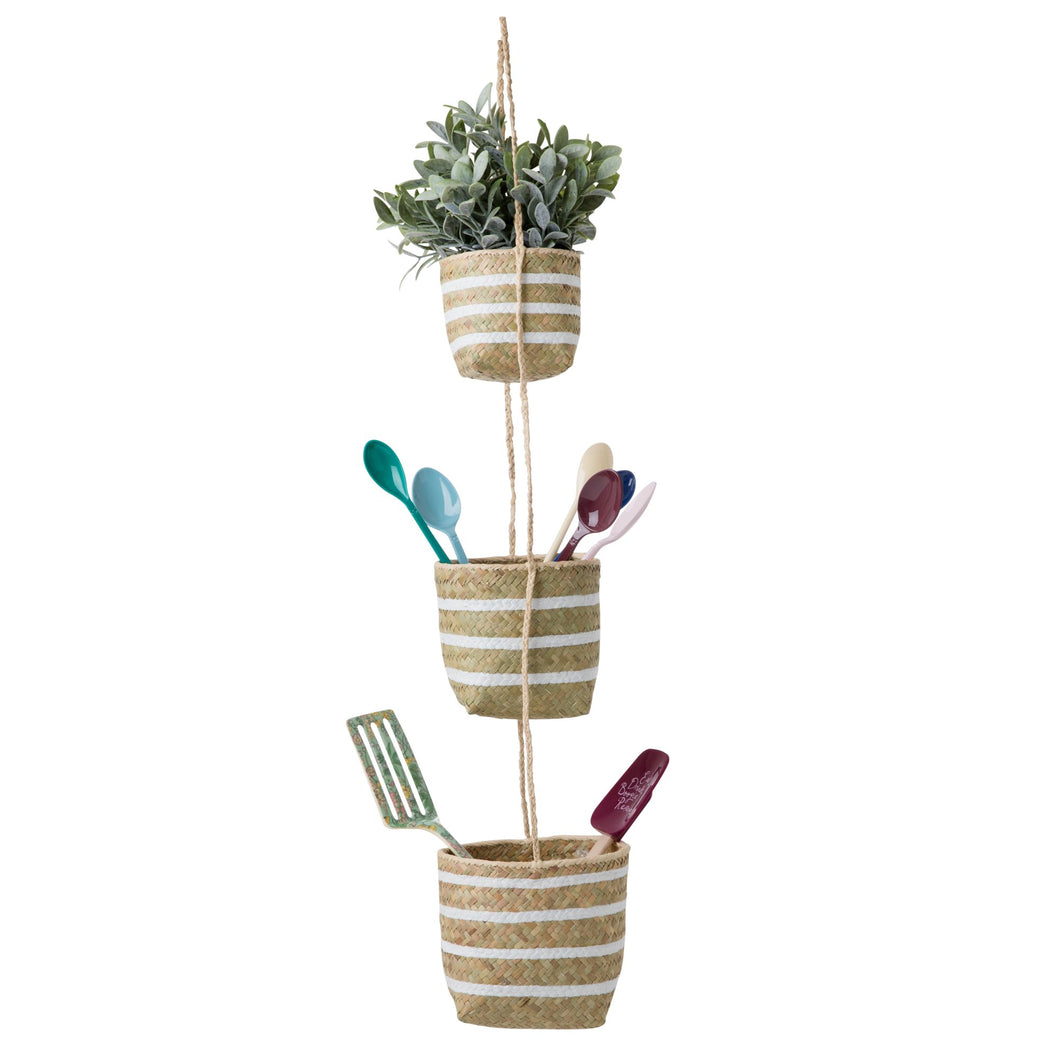 Seagrass Hanging Storage Baskets with White Stripes