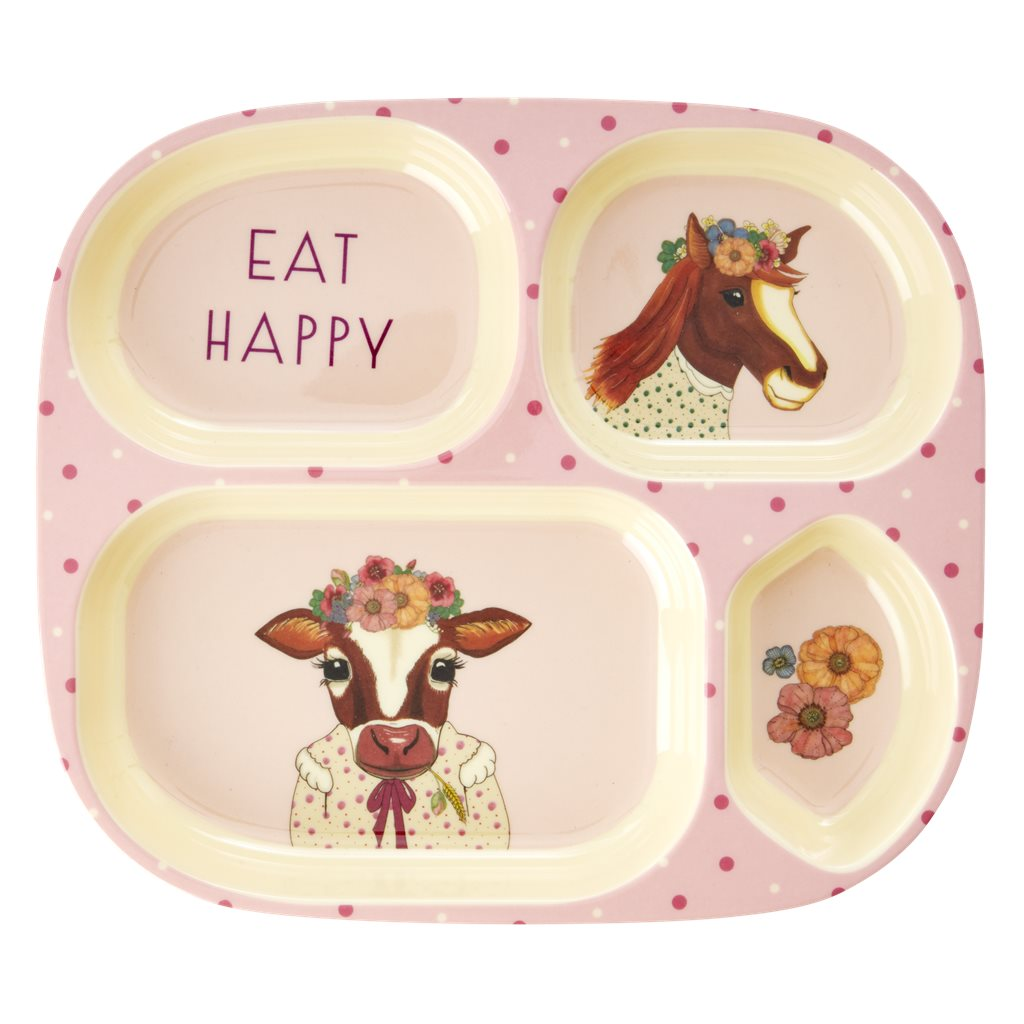Melamine Kids 4 Room Plate with Farm Animals Print - Pink