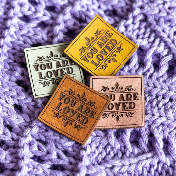 'YOU ARE LOVED' - Pack of 3 Leather labels - Dusky pink