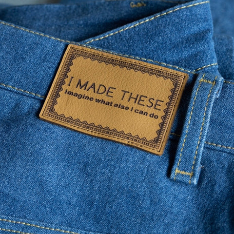 'I MADE THESE' - Pack of 2 Leather Jeans Labels - Mustard