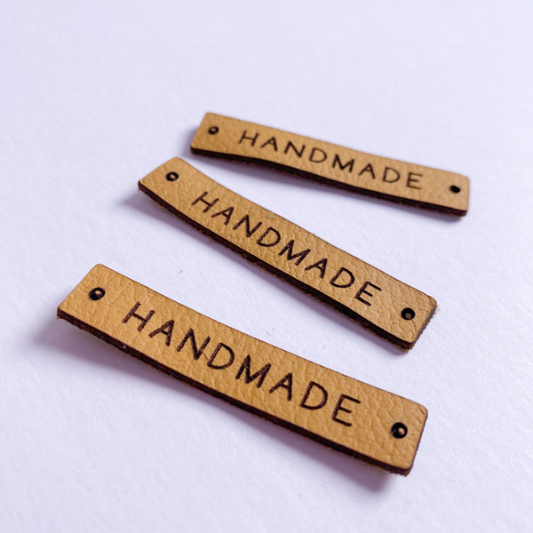 'HANDMADE' - Pack of 3 Leather labels - Mustard
