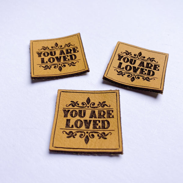 'YOU ARE LOVED' - Pack of 3 Leather labels - Mustard