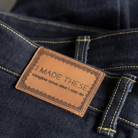 'I MADE THESE' - Pack of 2 Leather Jeans Labels - Whisky Tan
