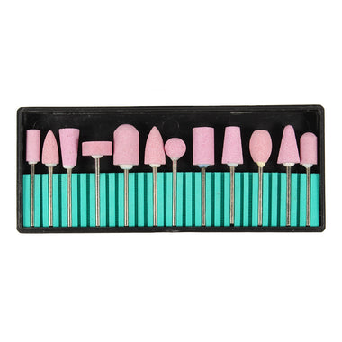 12pcs Pink Ceramics Nail Drill Bits Kit Grinding Manicure Pedicure Heads Polishing Machine