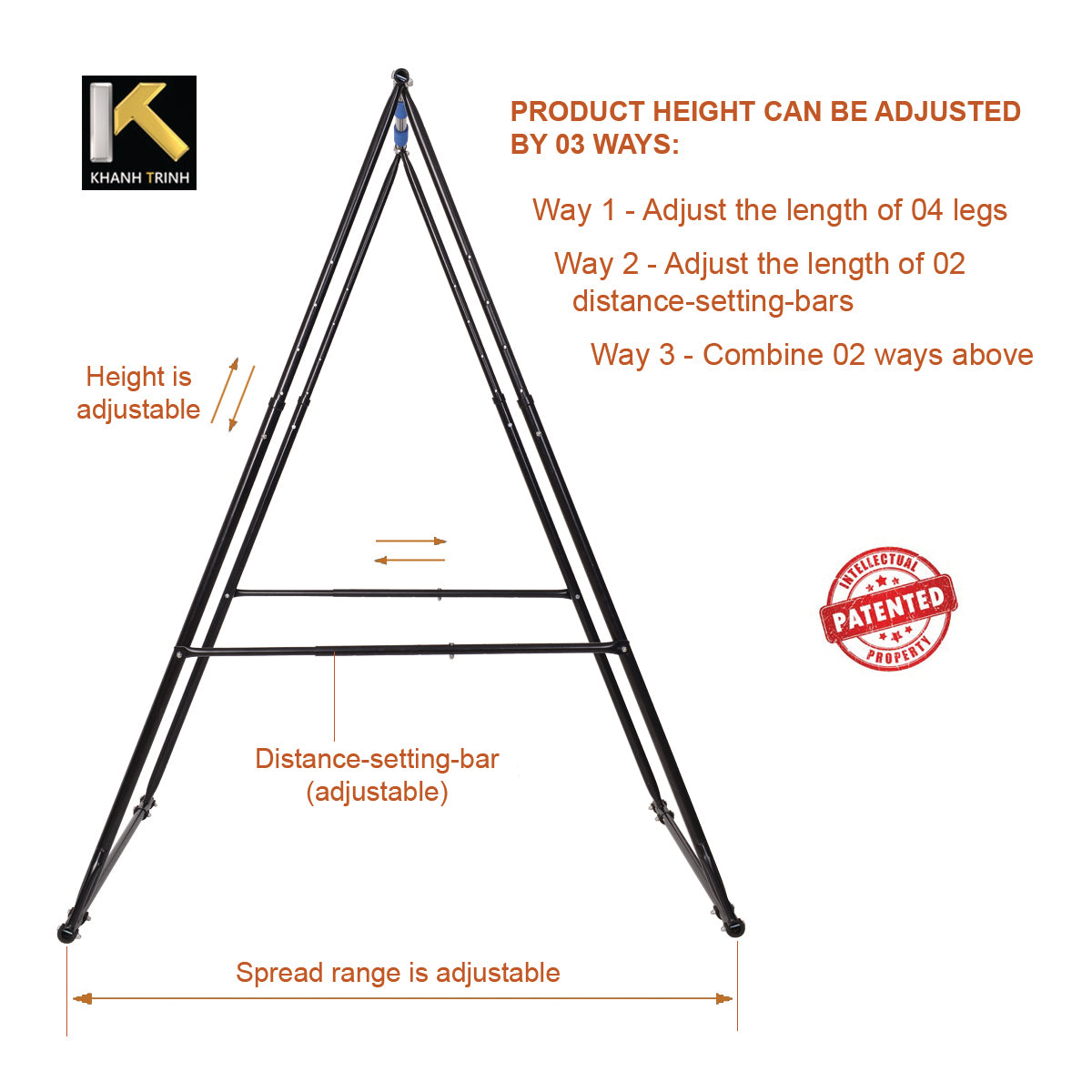 height adjustable KT folding pull up bar free standing