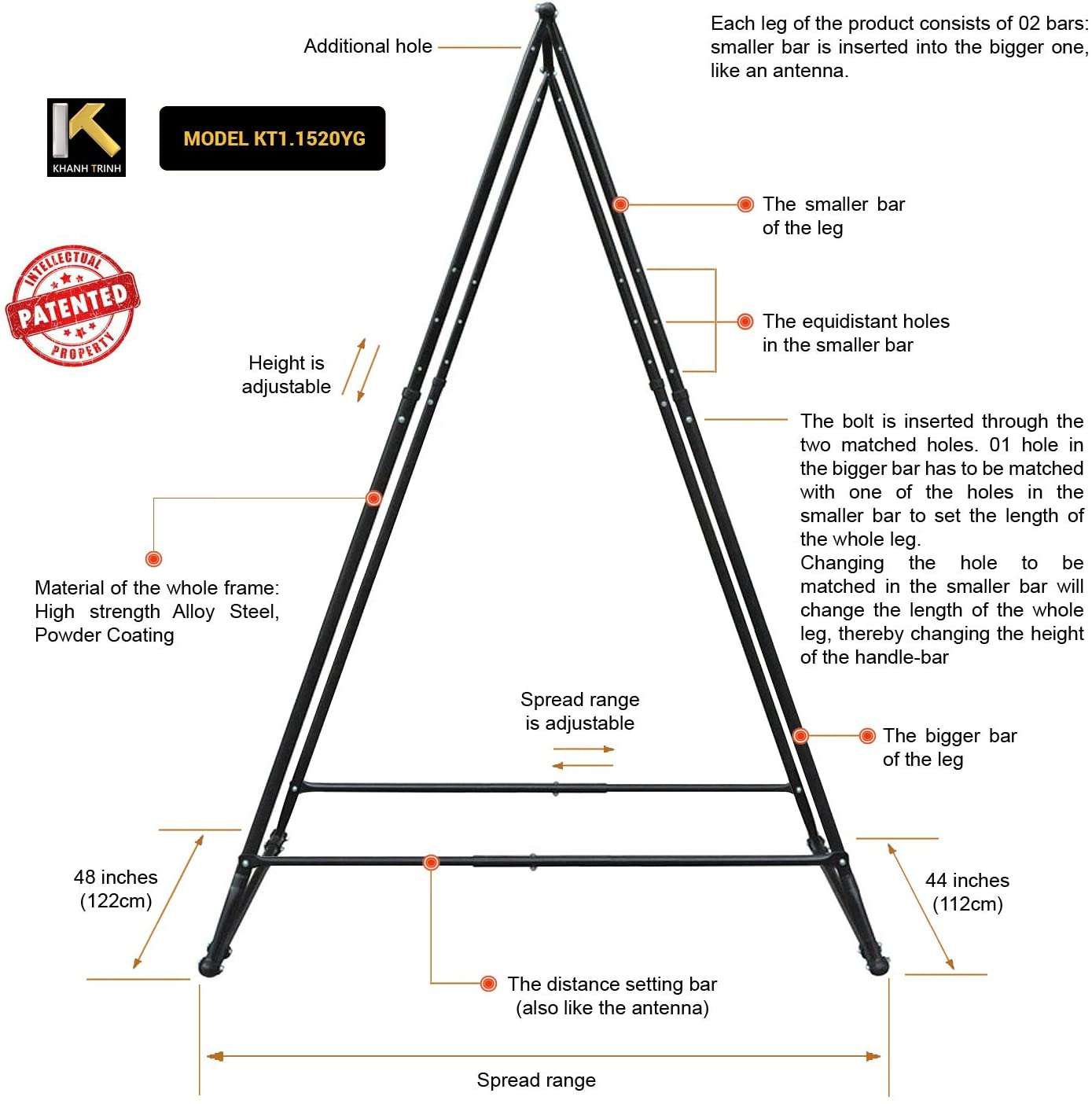 KT Dedicated Stand Frame for Aerial Yoga Model KT1.1520YG
