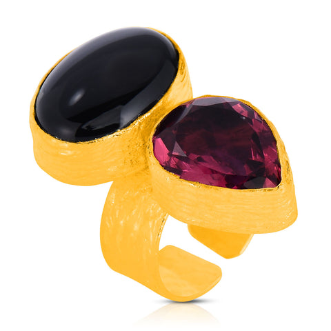Redberry Onyx Saffiano Ring