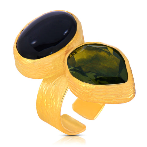 Olive Onyx Saffiano Ring