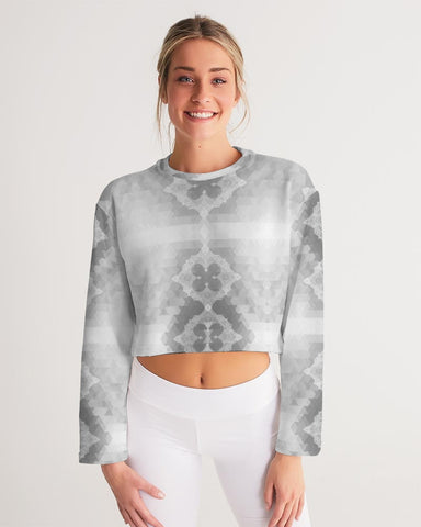Aztec Lace Grey and White Women's Cropped Sweatshirt