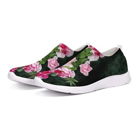 Fleur de Lis green pink crystal back Slip-On Flyknit Shoe