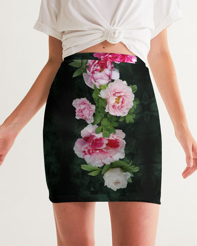 Fleur de Lis green pink crystal back Women's Mini Skirt