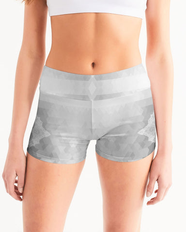 Aztec Lace Grey and White Women's Mid-Rise Yoga Shorts