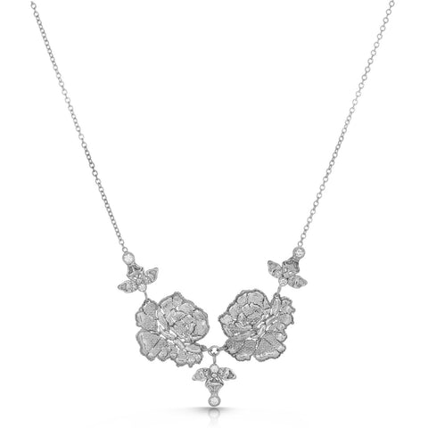 Blooming Lace Silver Floral Necklace